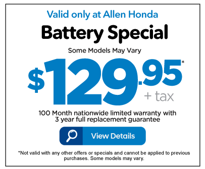 Battery Special $129.95 - View Details