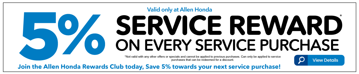 5% Service Reward on Every Service Purchased - View Details