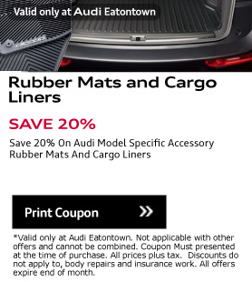 Valid only at Audi Eatontown. Valid only at Audi Eatontown. SAVE 20%. Save 20% Print Coupon.On Audi Model Specific AccessoryRubber Mats And Cargo Liners