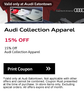 Valid only at Audi Eatontown.Audi Collection Apparel. 15% OFF. 15% Off Audi Collection ApparelPrint Coupon.*Valid only at Audi Eatontown. Not applicable with other offers and cannot be combined. Coupon Must presented at the time of purchase. In store items only. Excluding special orders. All offers expire end of month.