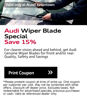 Valid only at Audi Eatontown. Audi Wiper Blade Special Save 15%.For clearer vision ahead and behind, get Audi Genuine Wiper Blades for front and/or rear.Quality, Safety and Savings. Print Coupon.*Please present coupon at time of write-up. One coupon per customer per visit. May not be combined with other offers. Discount off dealer price. Excludes taxes. Not redeemable for advertisied specials, previous purchases or cash. Valid at referenced dealer only.
