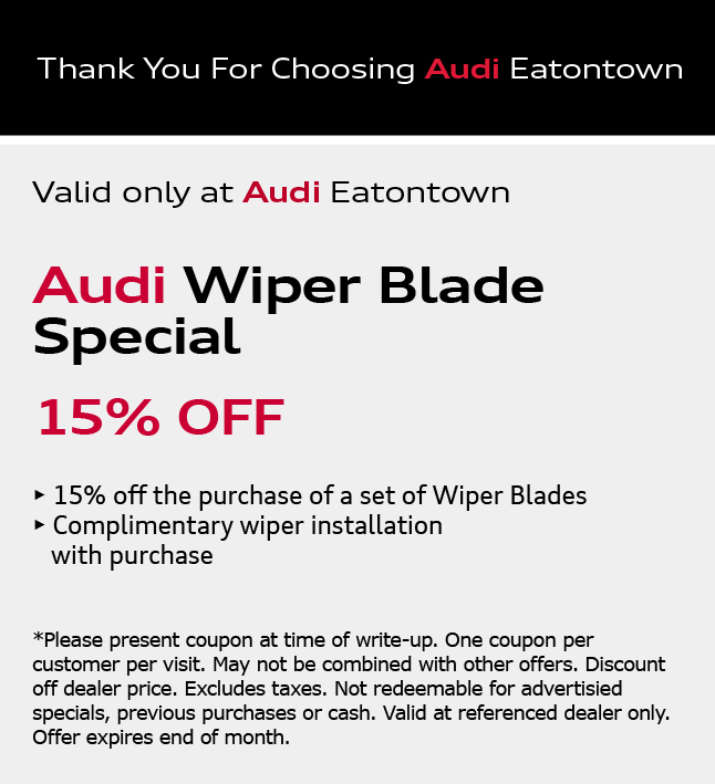 Thank You for Choosing Audi Eatontown. Spring Full Detail Special$169.95. View Details. *Please present coupon/offer at time of write-up. One coupon/offer per customer per visit. May not be combined with other offers. Discount is off dealer price. Excludes taxes. Not redeemable for advertised specials, previous purchases or cash. Valid at referenced dealer(s) only.