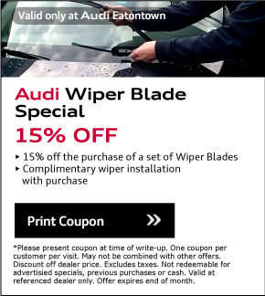 Valid Only At Audi Eatontown. Spring Full Detail Special$169.95. View Details. *Please present coupon/offer at time of write-up. One coupon/offer per customer per visit. May not be combined with other offers. Discount is off dealer price. Excludes taxes. Not redeemable for advertised specials, previous purchases or cash. Valid at referenced dealer(s) only.