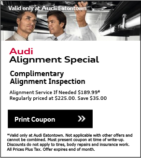 Valid Only At Audi Eatontown. Audi Genuine Brake Special - Save 15%.• Applies To Any Brake Service/Repair• Inspect Rotors and Calipers; Top Off Fluids• Includes New Brake Pads• Discount Applies To Cost Of New Rotors, If    requiredView Details. *Please present coupon/offer at time of write-up. One coupon/offer per customer per visit. May not be combined with other offers. Discount is off dealer price. Excludes taxes. Not redeemable for advertised specials, previous purchases or cash. Valid at referenced dealer(s) only.