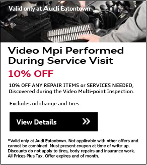 Valid Only At Audi Eatontown. Synthetic Oil and Filter Change Special. Starting at $69.95. • Change Synthetic engine oil. (6qt. max.)• Install Audi Genuine Oil Filter• Check and top off brake, windshield washer and    battery fluids.View Details.*Please present coupon/offer at time of write-up. One coupon/offer per customer per visit. May not be combined with other offers. Discount is off dealer price. Excludes taxes. Not redeemable for advertised specials, previous purchases or cash. Valid at referenced dealer(s) only.