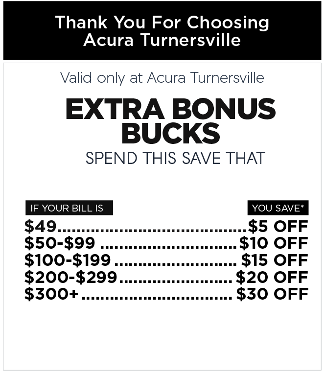 Valid only at Acura Turnersville. Wiper Blade Inserts now only $12.99 plus tax per set most models.