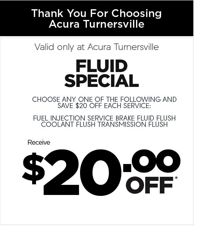 Valid only at Acura Turnersville. Complimentary Car wash and vacuum.