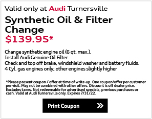 Valid only at Audi Turnersville. Audi Genuine Brake Special$100.00 OFFApplies to any brake service/repairService includes:• Inspect Rotors and Calipers; top off fluids• Includes New Brake Pads• Discount Applies to cost of new Rotors, if required.*Please present coupon / offer at time of write-up. One coupon/offer per customer per visit. May not be combined with other offers. Discount is off dealer price. Excludes taxes. Not redeemable for advertised specials, previous purchases or cash. Valid at Audi Turnersville only. Expires end of month.Print Coupon