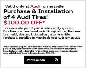 Valid only at Audi Turnersville. Complimentary Multi-Point Inspection FREE. * Present upon arrival. One per customer. No cash value. Cannot be combined with any other offer. See dealer for details. Offer expires end of month.Print Coupon