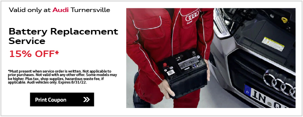 Valid only at Audi Turnersville. Tire Special$100.00 OFF* $100 AO Instant rebate. *Rebate has no cash value. Must qualify for rebate from Audi Turnersville. Customer can save $100 instantly on a set of four eligible AO Tires. Tires must be installed by June 22. See dealer for full details. Must preset at time of purchase. Offer excludes taxes. Not redeemable for advertised specials, previous purchases or cash. Offer expires end of month.Print CouponGoodyear TiresBuy Four new tires and get up to a $75 PrePaid Mastercard Card.**Valid on specific model lines only. See dealer for full details. Offer has no cash value. must present at time of purchase. Offer excludes taxes, Not redeemable for advertised specials, previous purchases, or cash. See dealer for full details. Valid only at Audi Turnersville. Expires end of month. Print Coupon.
