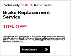 Valid only at Audi Turnersville. Wiper Blade SpecialSave 20%. For clearer vision ahead and behind, get Audi Genuine Wiper Blades for front and/or rear windows. Quality, safety and savings are our main priority. Please present coupon at time of write-up. One coupon per person per visit. May not be combined with other offers. Discount is off dealer price. Excludes taxes. Not redeemable for advertised specials, previous purchase, or cash. Offer expires end of month.Print Coupon