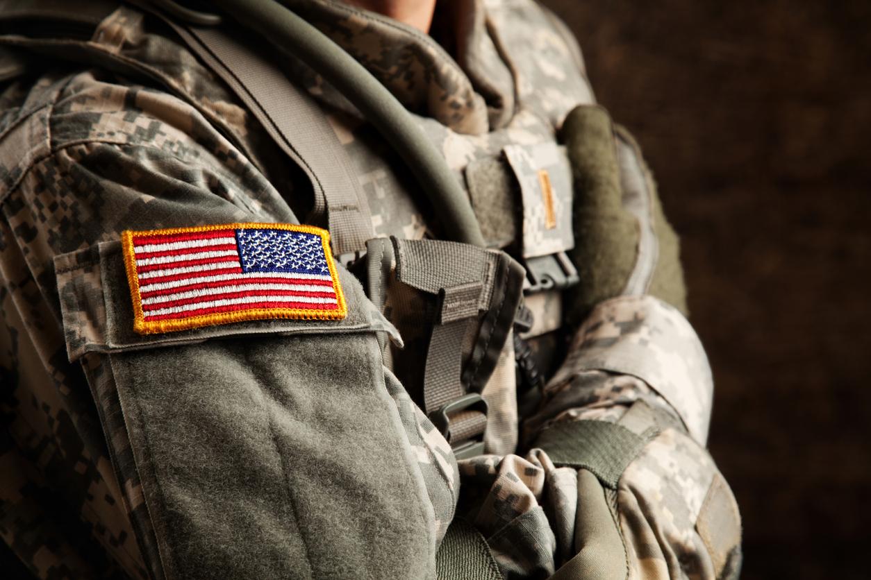 Military Uniform With an U.S. Flag