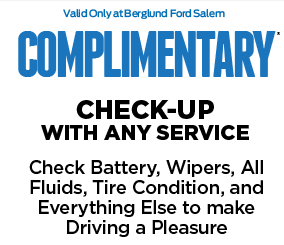 Complimentary CHECK-UP WITH ANY SERVICE Check Battery, Wipers, All Fluids, Tire Condition, and Everything Else to make Driving a Pleasure
