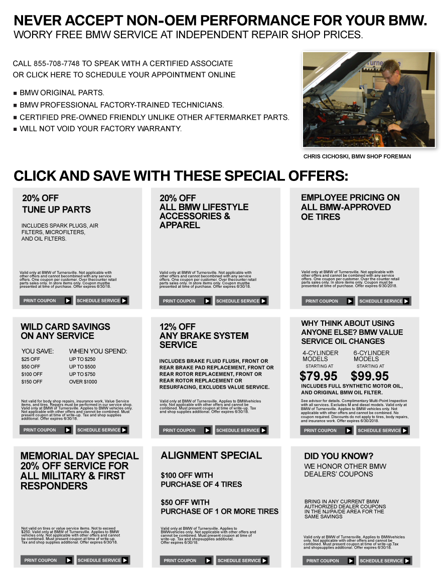 BMW of Turnersville, NJ, New, Used Cars - Service Specials
