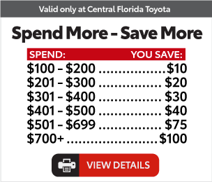 Service Specials at Central Florida Toyota - Spend and Save Specials $20.00 Off View Details