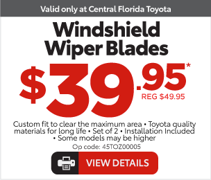 Service Specials at Central Florida Toyota - Windshield Wipers blades, $39.95* View Details