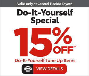 Service Specials at Central Florida Toyota - Do it Yourself special 15% Off* View Details