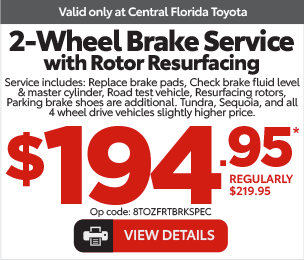 Service Specials at Central Florida Toyota - Front Brake Specials View Details $189.95*