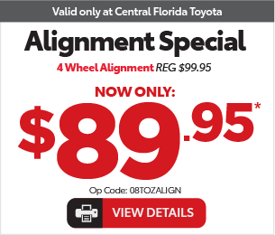 Service Specials at Central Florida Toyota - Spend More Save More, Spend $100-200 Save $10*