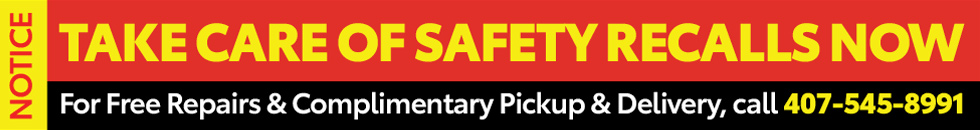 NOTICE:Take Care of Safety Recalls NOW at Central Florida Toyota. For Free Repairs and Complimentary Pickup and Delivery, Call 407-545-8991.