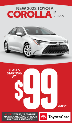 toyota corolla lease offer $99/mo and No Payment for 90 days***