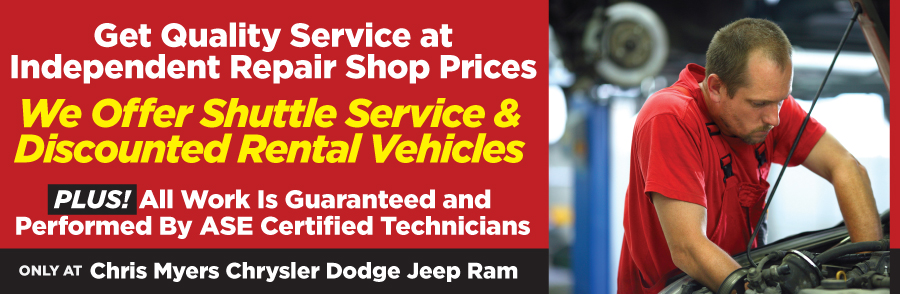 Only at Chris Myers Chrysler Dodge Jeep Ram - We Offer Shuttle Service & Discounted Rental Vehicles. CALL OR SCHEDULE SERVICE ONLINE at 251-445-2892. PLUS! ALL WORK IS GUARANTEED AND PERFORMED BY ASE CERTIFIED TECHNICIANS