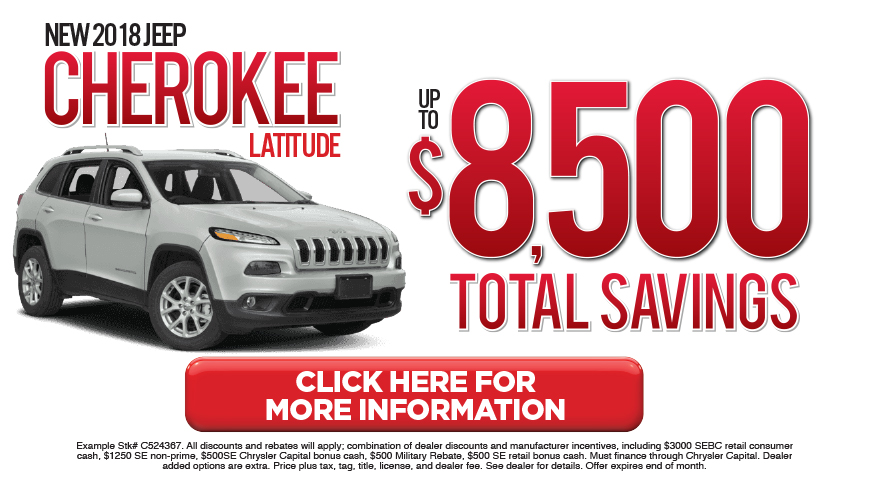 Jeep Cherokee Special. Click here to take advantage of this offer.