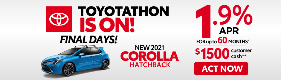 check out the Corolla hatchback offer at east madison toyota $500 Finance Cash - Click here to view inventory