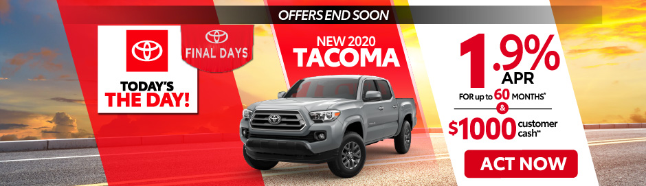 check out the Tacoma offer at east madison toyota 1.9% APR up to 60 months - click here to view inventory