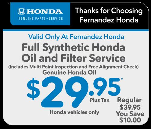 Coupons For Oil Change >> Service Special 1 Fernandez Honda