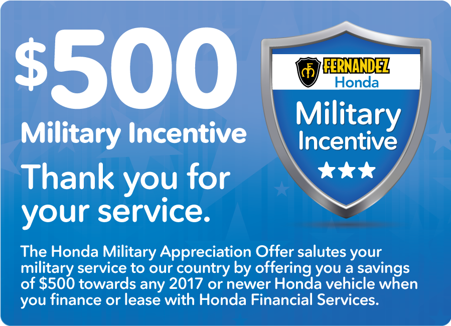 Honda Financial Services Account >> Honda Military Appreciation Offer Fernandez Honda
