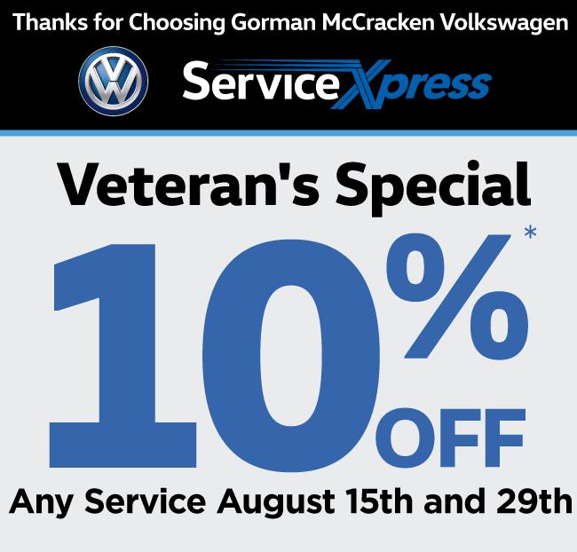 Gorman McCracken Volkswagen Service and Parts Printable Coupon
