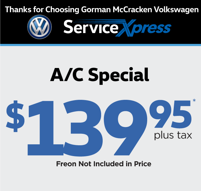 Gorman McCracken Volkswagen Service and Parts Printable Coupon