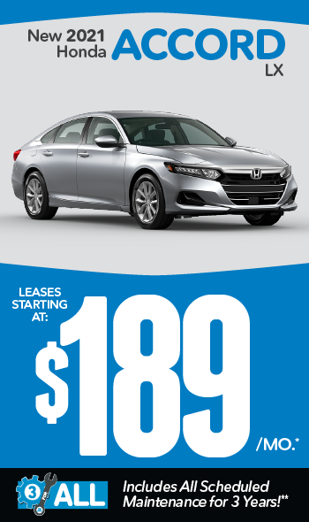 New 2021 Honda Accord | Leases starting at $179 a month