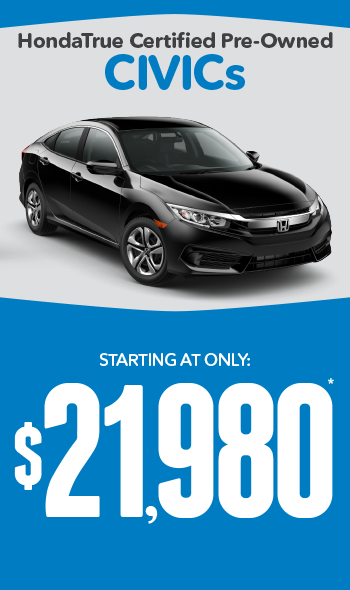 Certified Pre-Owned Honda Civics | Starting at only $15,980