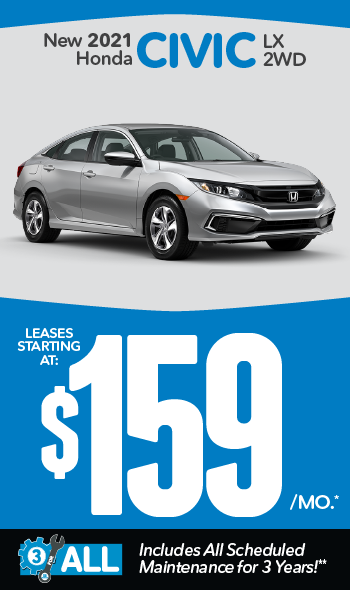 New 2021 Honda Civic | Leases starting at $139 a month
