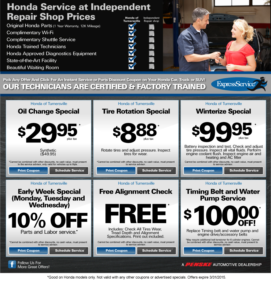 honda of turnersville service specials