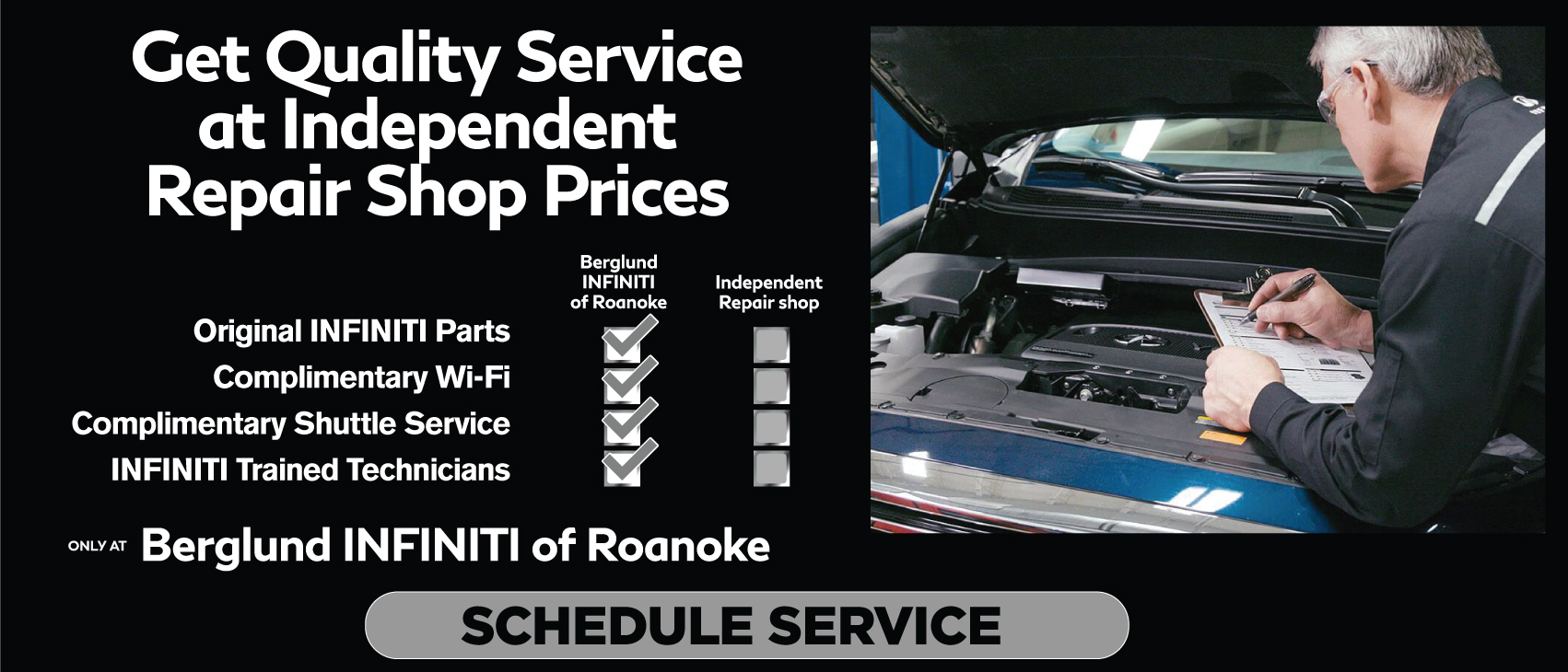 Get Quality Serviceat IndependentRepair Shop Prices. Click to Schedule Service.