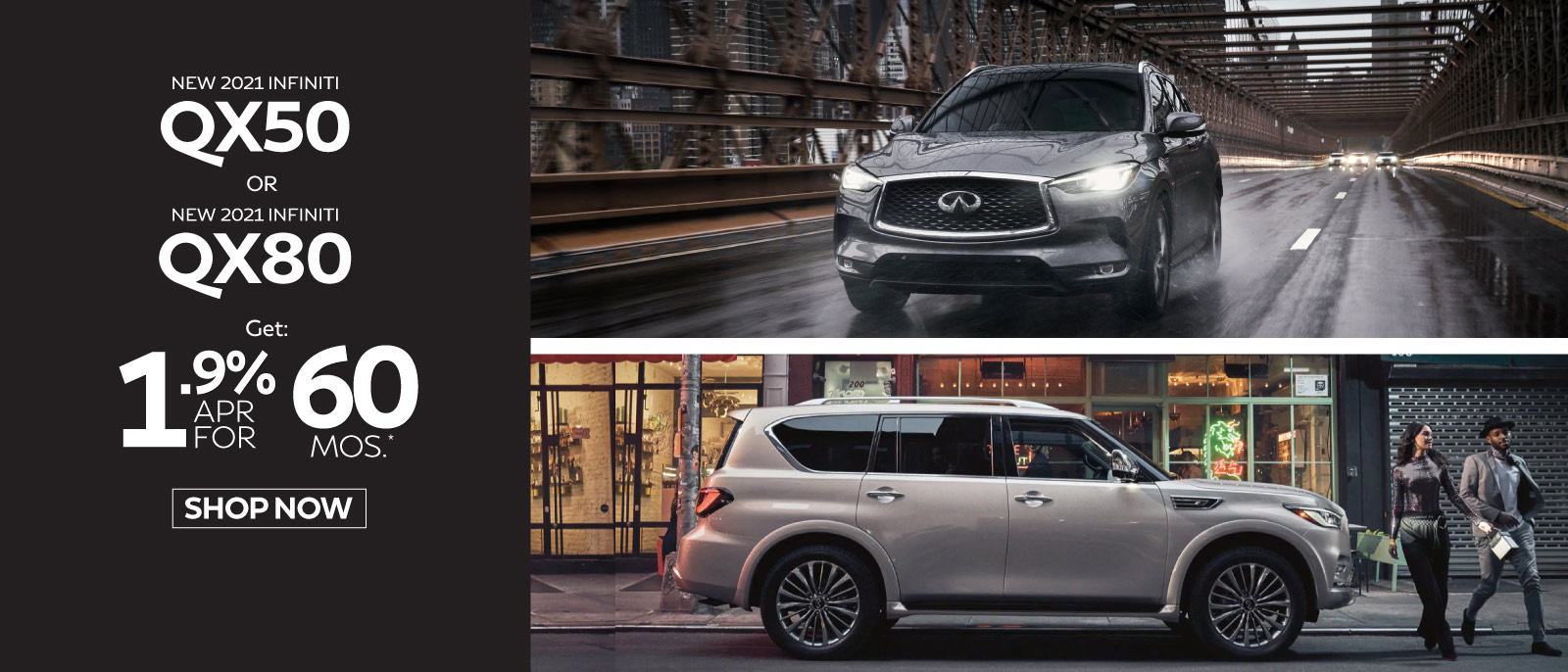 New 2021 INFINITI QX50 Pure AWD Lease for only $389 a mo. for 39 mos.* $3799 due at signing. Click here to begin shopping.