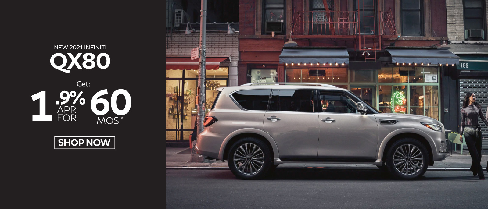 New 2021 INFINITI QX80 lease for $799 a month with $6799 due at signing. Click here to begin shopping.