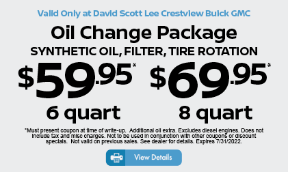 6-Quart Oil Change Package $49.95* Click for details.