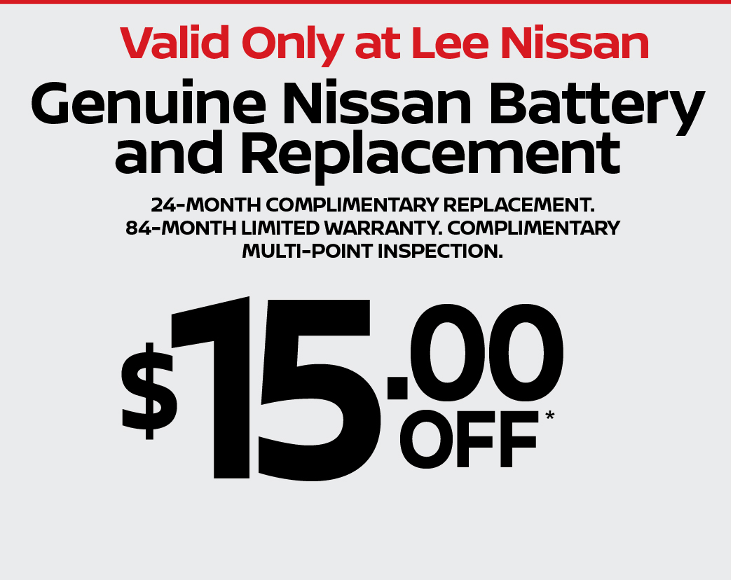 Genuine Nissan Battery and Replacement $15 off