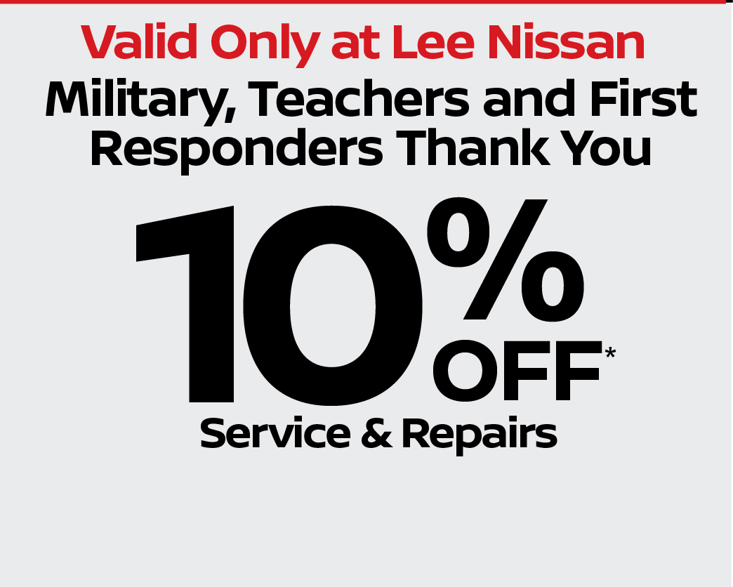 Military, Teachers, First Responders Thank You, %10 off service repairs.