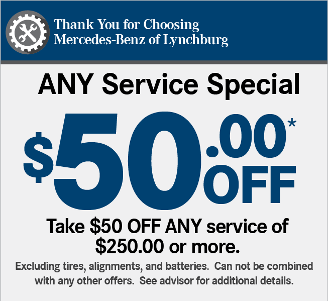 Thank You for Choosing Mercedes-Benz of Lynchburg. A Service Special. 20% OFF*Includes: Service at 10,000 miles or 1 year, synthetic motor oil replacement, oil filter replacement, all fluid level checks & corrections (dependent on factory-recommended service intervals for your vehicle's year/model), tire inflation check & correction, brake component inspection, reset maintenance counter.Maximum discount of $100.00.