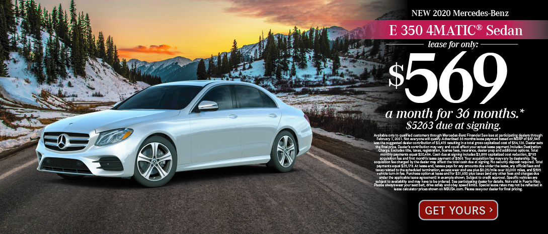 2020 Mercedes-Benz E350 4MATIC Sedan. $569 a month for 36 months after $4163 due at signing.Available only to qualified customers through Mercedes-Benz Financial Services at participating dealers through November 2, 2020. Not everyone will qualify. Advertised 36 months lease payment based on MSRP of $57,545 less the suggested dealer contribution of $3,419 resulting in a total gross capitalized cost of $54,126. Dealer contribution may vary and could affect your actual lease payment. Includes Destination Charge. Excludes title, taxes, registration, license fees, insurance, dealer prep, additional options, and $599 processing fee. Total monthly payments equal $20,484. Cash due at signing includes $3,899 capitalized cost reduction, $795 acquisition fee and first month's lease payment of $569. Your acquisition fee may vary by dealership. The acquisition fee charged by the dealer may affect the total cash due at signing. No security deposit required. Total payments equal $25,178. At lease end, lessee pays for any amounts due under the lease, any official fees and taxes related to the scheduled termination, excess wear and use plus $0.25/mile over 30,000 miles, and $595 vehicle turn-in fee. Purchase option at lease end for $31,650 plus taxes (and any other fees and charges due under the applicable lease agreement) in example shown. Subject to credit approval. Specific vehicles are subject to availability and may have to be ordered. See participating dealer for details. Not valid in Puerto Rico. Please always wear your seat belt, drive safely and obey speed limits. Special lease rates may not be reflected in lease calculator prices shown on MBUSA.com. Please see your dealer for final pricing.