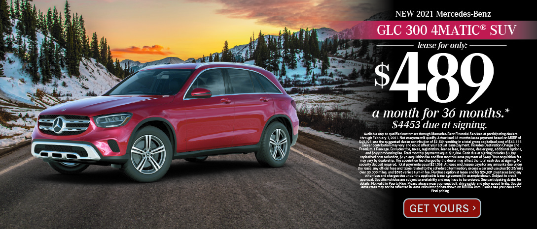2020 Mercedes-Benz GLC300 4MATIC SUV. $569 a month for 36 months after $4553 due at signing.Available only to qualified customers through Mercedes-Benz Financial Services at participating dealers through November 2, 2020. Not everyone will qualify. Advertised 36 months lease payment based on MSRP of $45,995 less the suggested dealer contribution of $2,139 resulting in a total gross capitalized cost of $43,856. Dealer contribution may vary and could affect your actual lease payment. Includes Destination Charge and Premium 1 Package. Excludes title, taxes, registration, license fees, insurance, dealer prep, additional options, and $599 processing fee. Total monthly payments equal $17,604. Cash due at signing includes $3,169 capitalized cost reduction, $795 acquisition fee and first month's lease payment of $489. Your acquisition fee may vary by dealership. The acquisition fee charged by the dealer may affect the total cash due at signing. No security deposit required. Total payments equal $21,568. At lease end, lessee pays for any amounts due under the lease, any official fees and taxes related to the scheduled termination, excess wear and use plus $0.25/mile over 30,000 miles, and $595 vehicle turn-in fee. Purchase option at lease end for $24,837 plus taxes (and any other fees and charges due under the applicable lease agreement) in example shown. Subject to credit approval. Specific vehicles are subject to availability and may have to be ordered. See participating dealer for details. Not valid in Puerto Rico. Please always wear your seat belt, drive safely and obey speed limits. Special lease rates may not be reflected in lease calculator prices shown on MBUSA.com. Please see your dealer for final pricing.