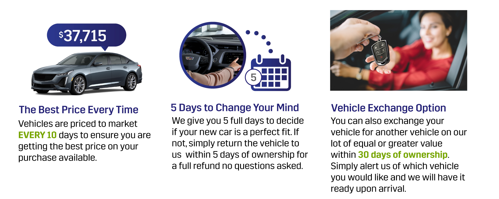The Best Price Everytime, 5 Days to Change Your Mind, Vehicle Exchange Option