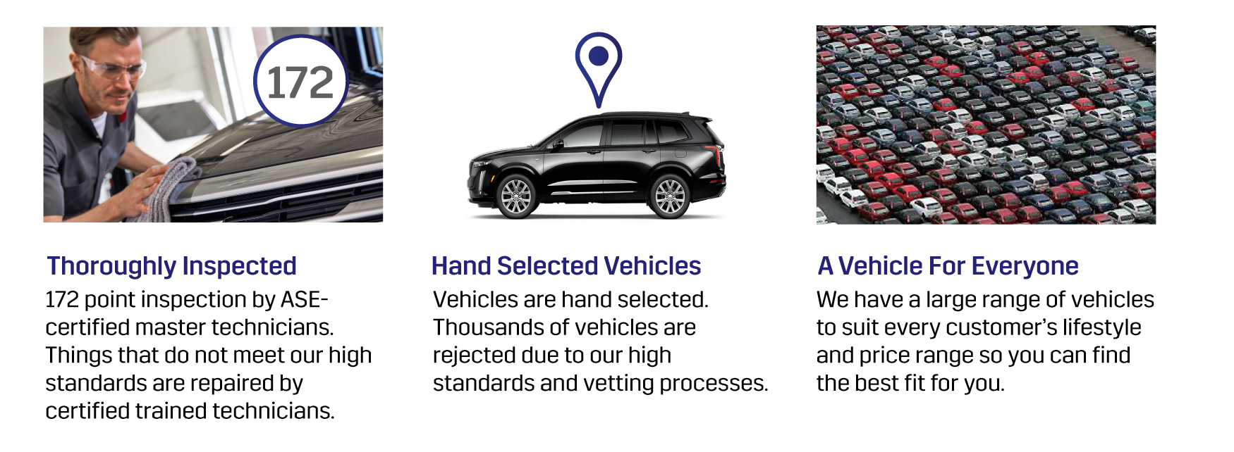 Thoroughly Inspected, Hand-Selected Vehicles, A Vehicle for Everyone