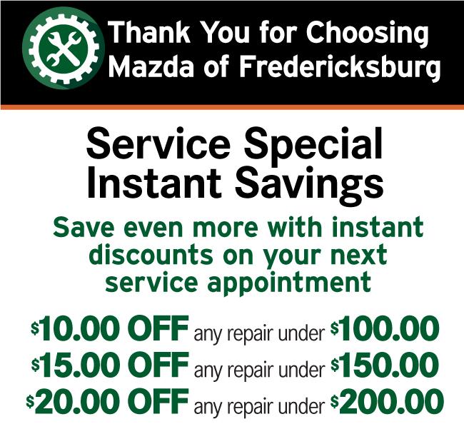 Mazda of Fredericksburg Service and Parts Printable Coupon