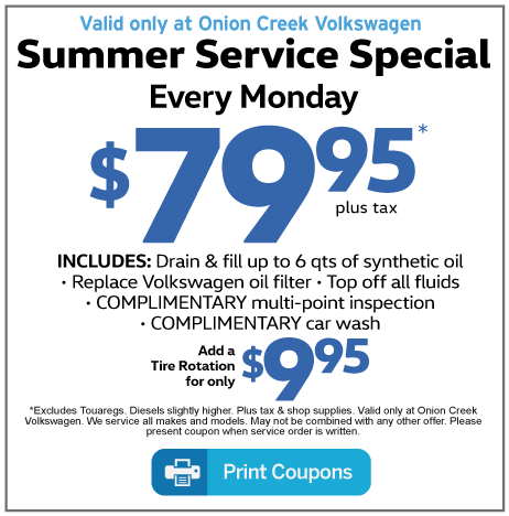 Service Coupons At Onion Creek Volkswagen Austin Tx